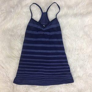 Alo Yoga Blue Striped Tank Top